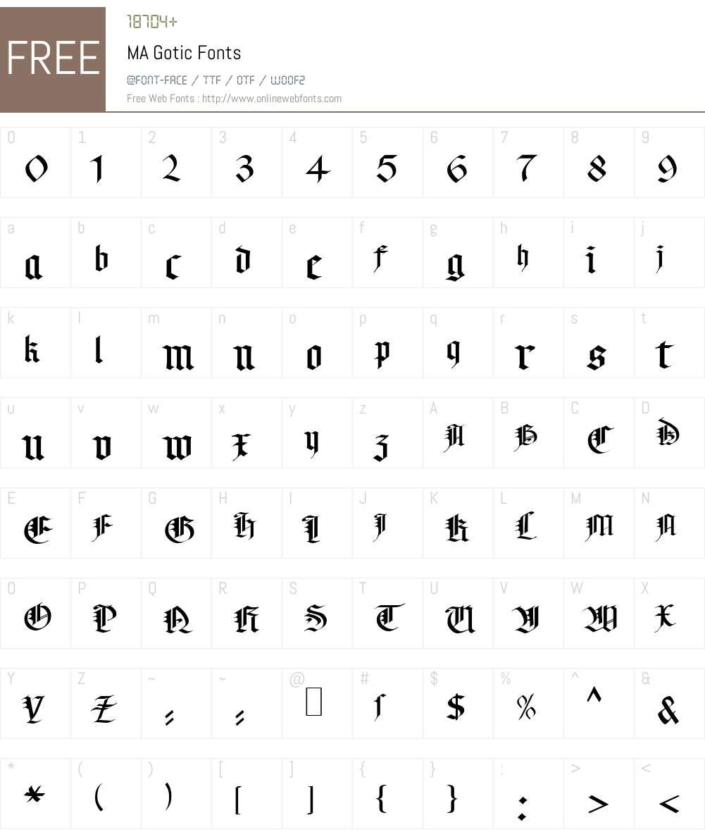 MA Gotic Font Screenshots