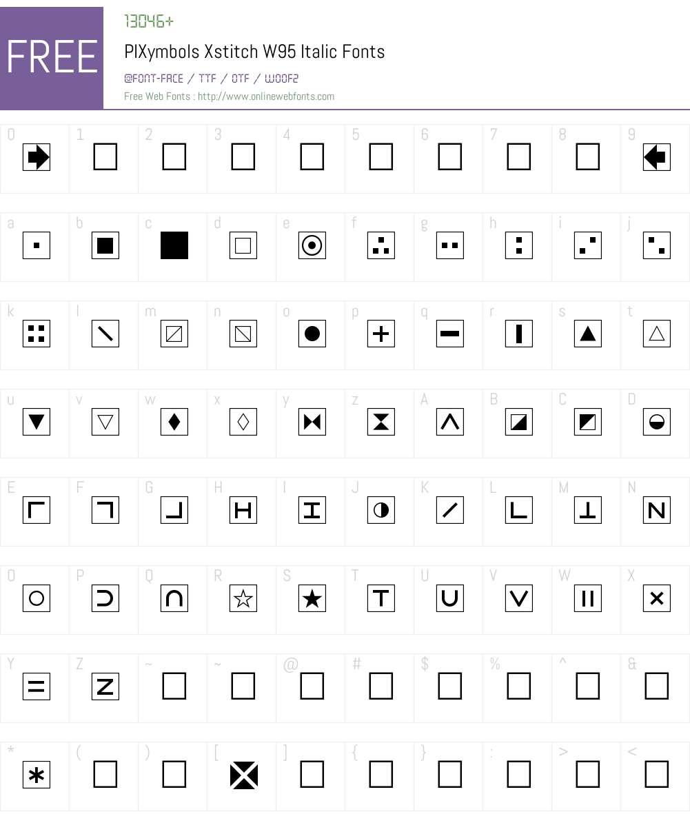 PIXymbolsXstitchW95-Italic Font Screenshots