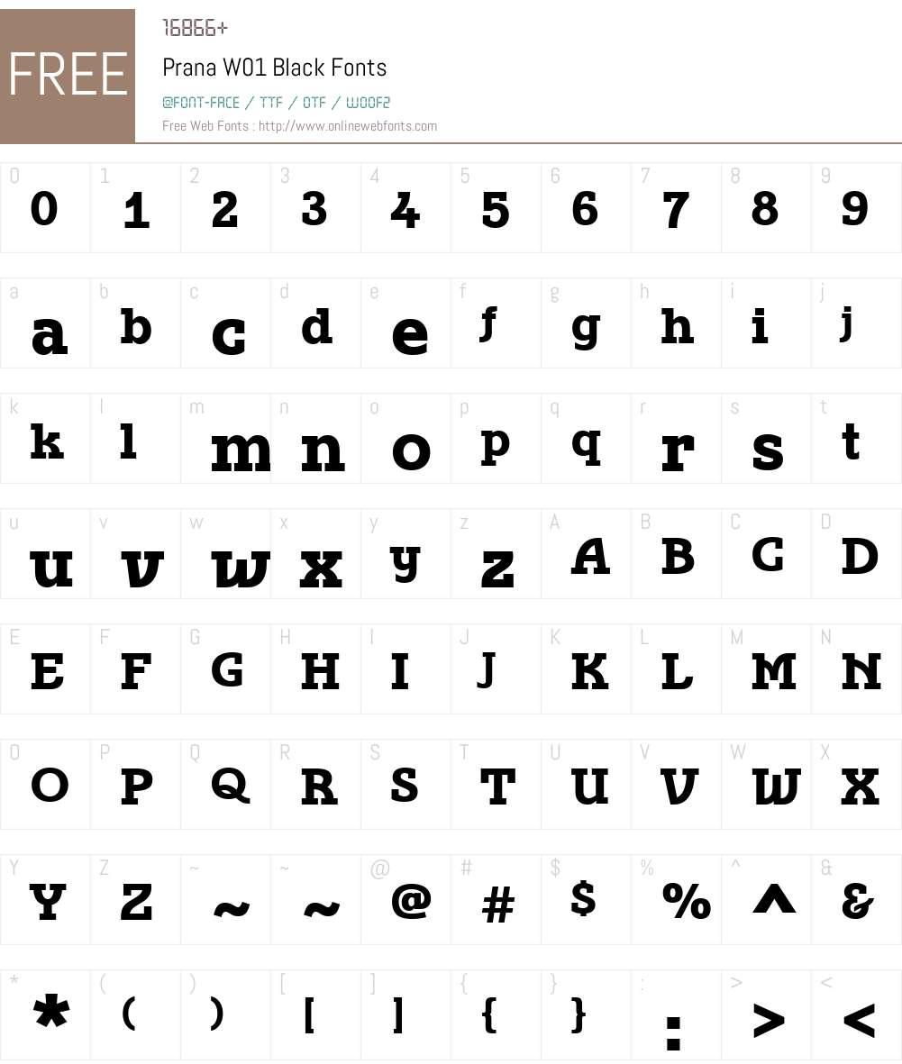 PranaW01-Black Font Screenshots