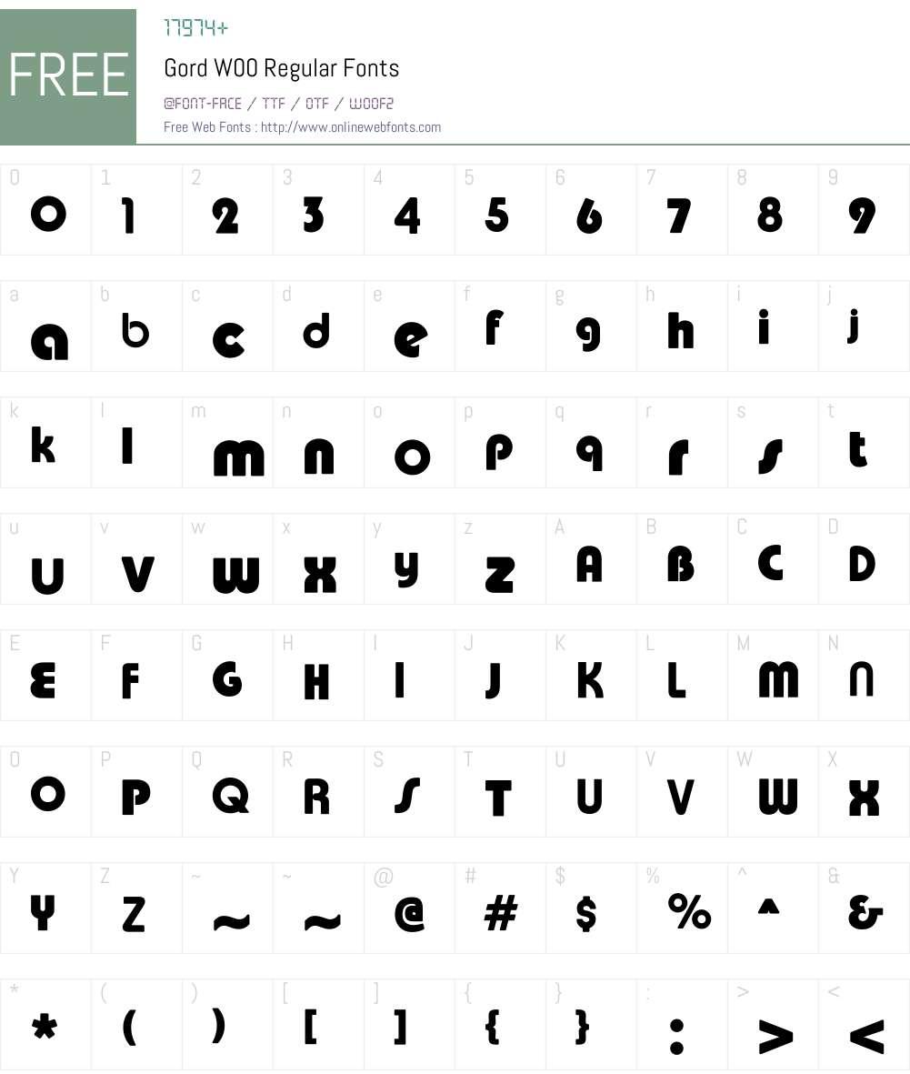 GordW00-Regular Font Screenshots
