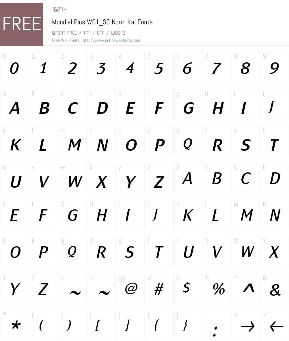 MondialPlusW01_SC-NormItal Font Screenshots
