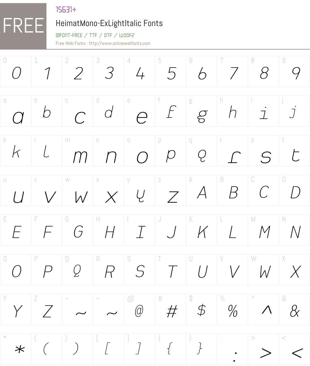 Heimat Mono ExtraLight Font Screenshots