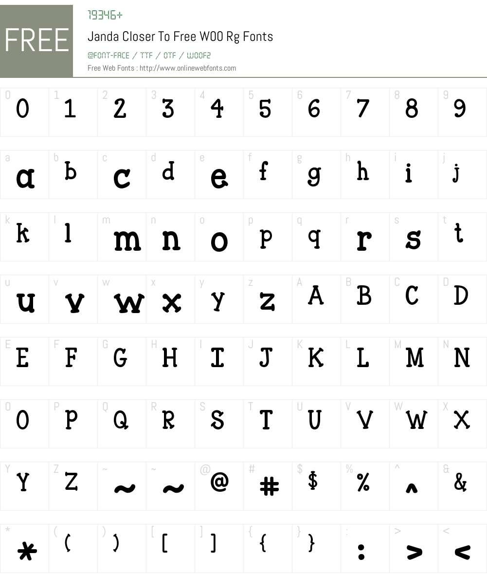 JandaCloserToFreeW00-Rg Font Screenshots