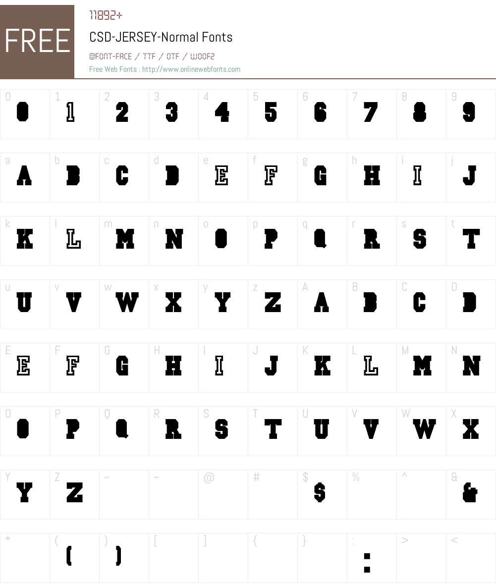 CSD-JERSEY-Normal Font Screenshots