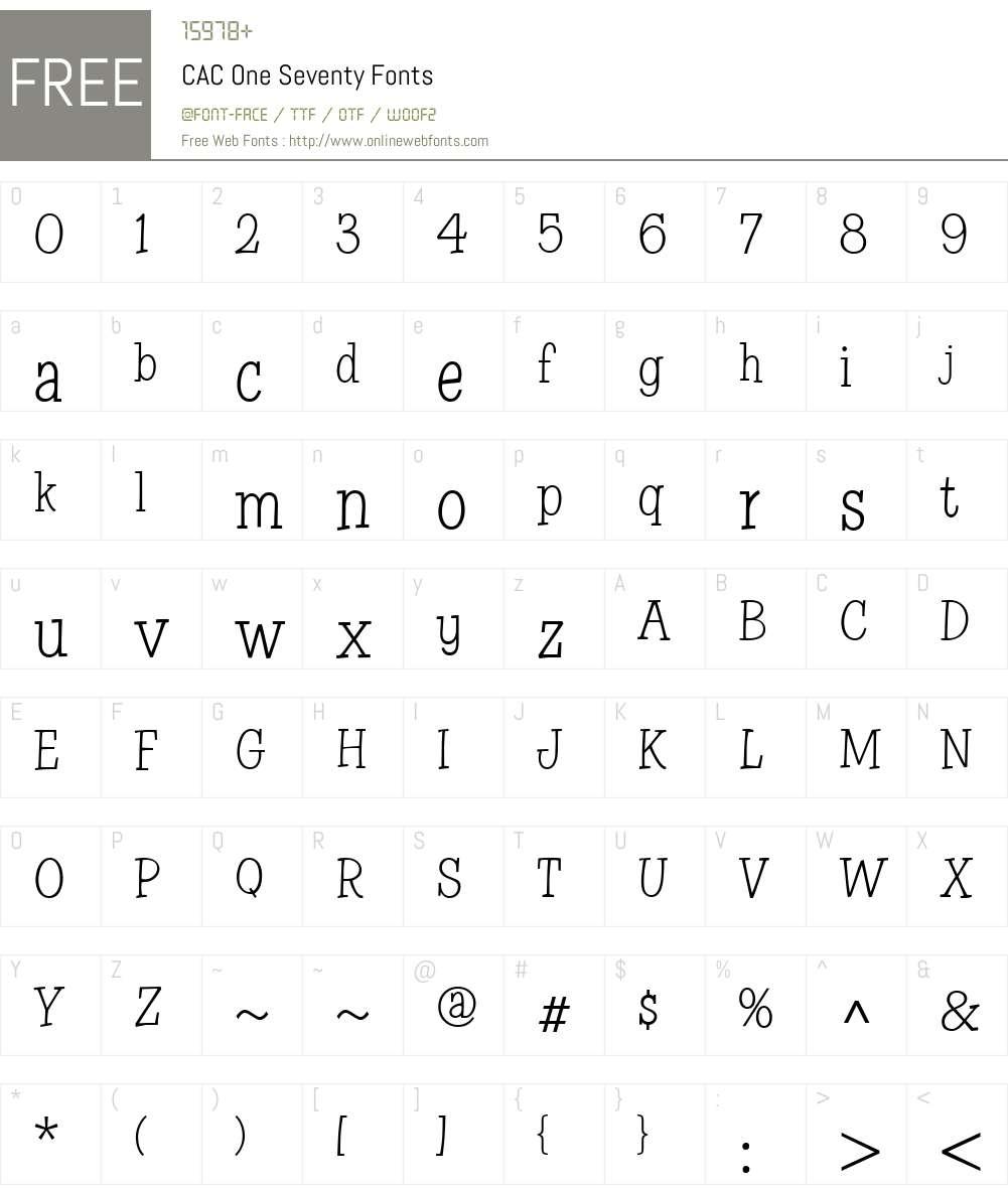 CAC One Seventy Font Screenshots