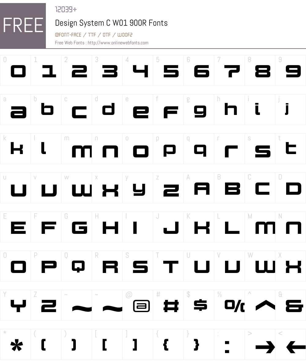 DesignSystemCW01-900R Font Screenshots
