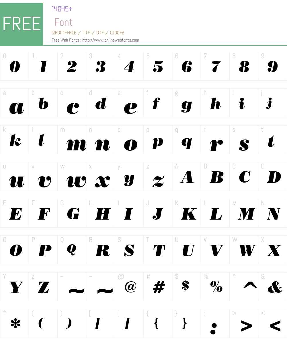 PosterBodoni It BT Font Screenshots