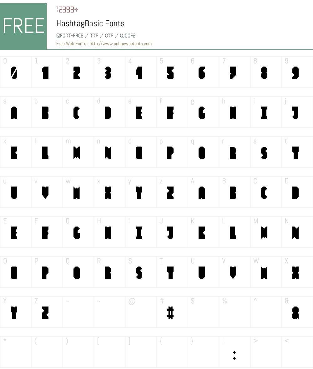 Hashtag Basic Font Screenshots