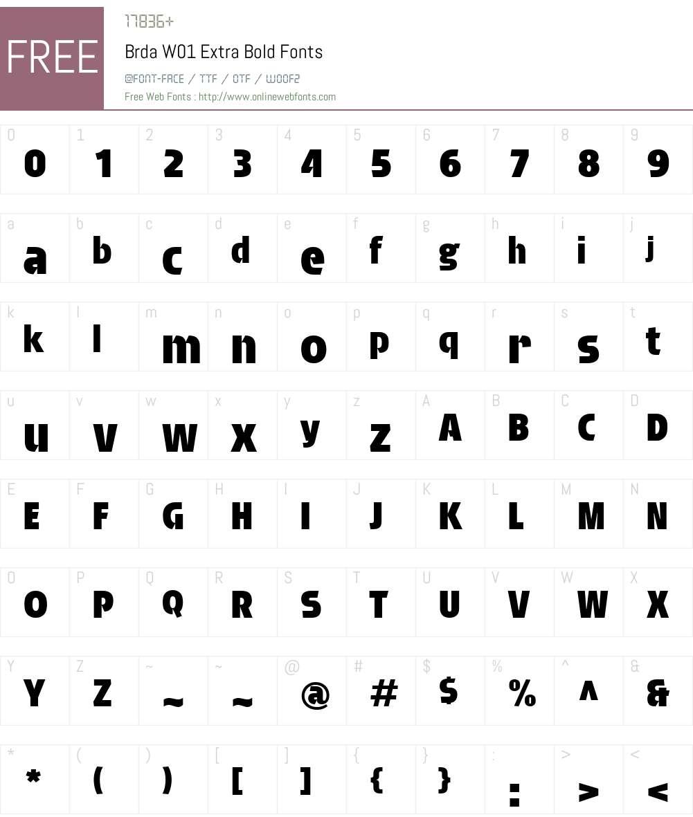 BrdaW01-ExtraBold Font Screenshots