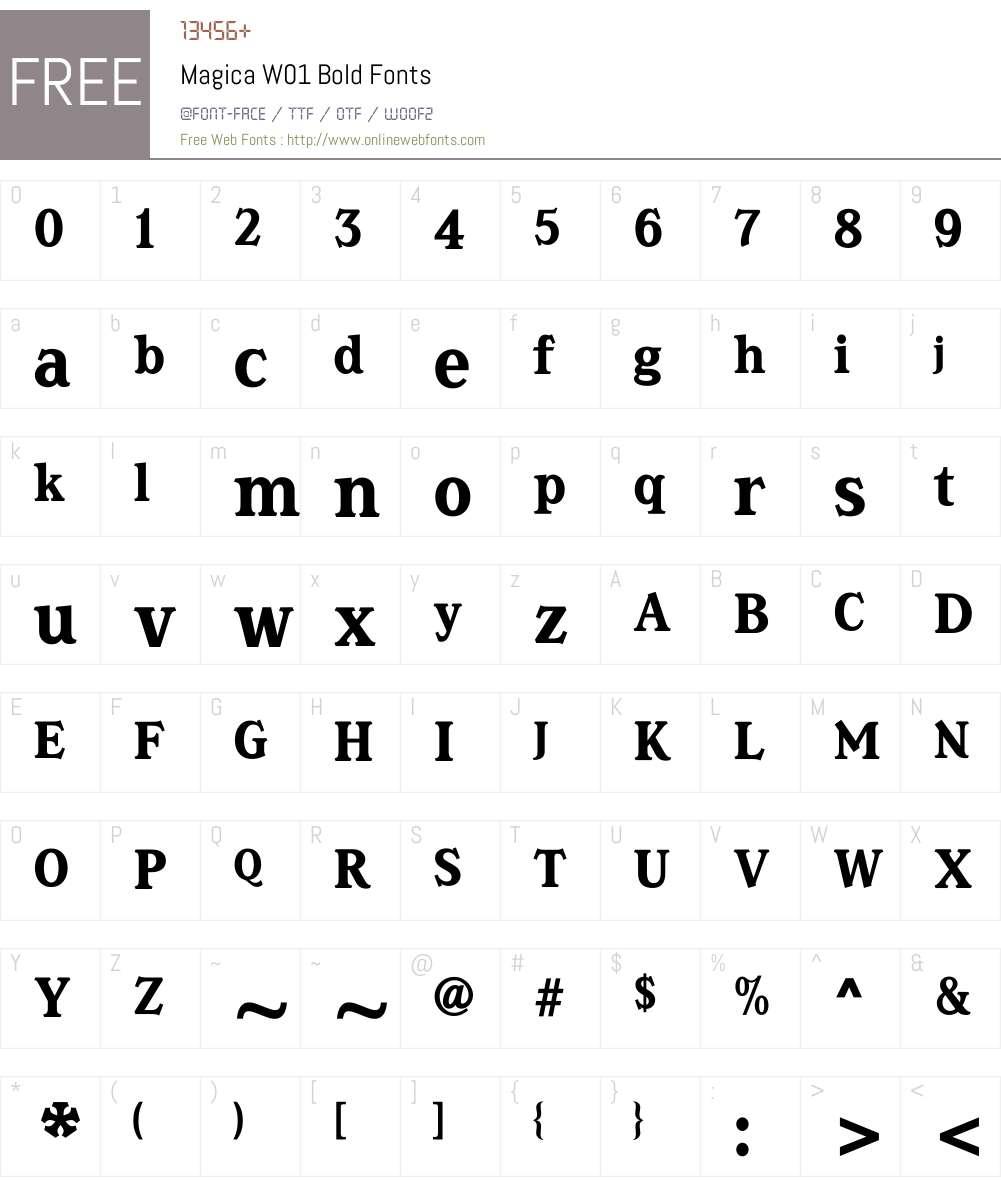 MagicaW01-Bold Font Screenshots