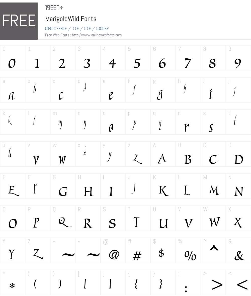 MarigoldWild Font Screenshots