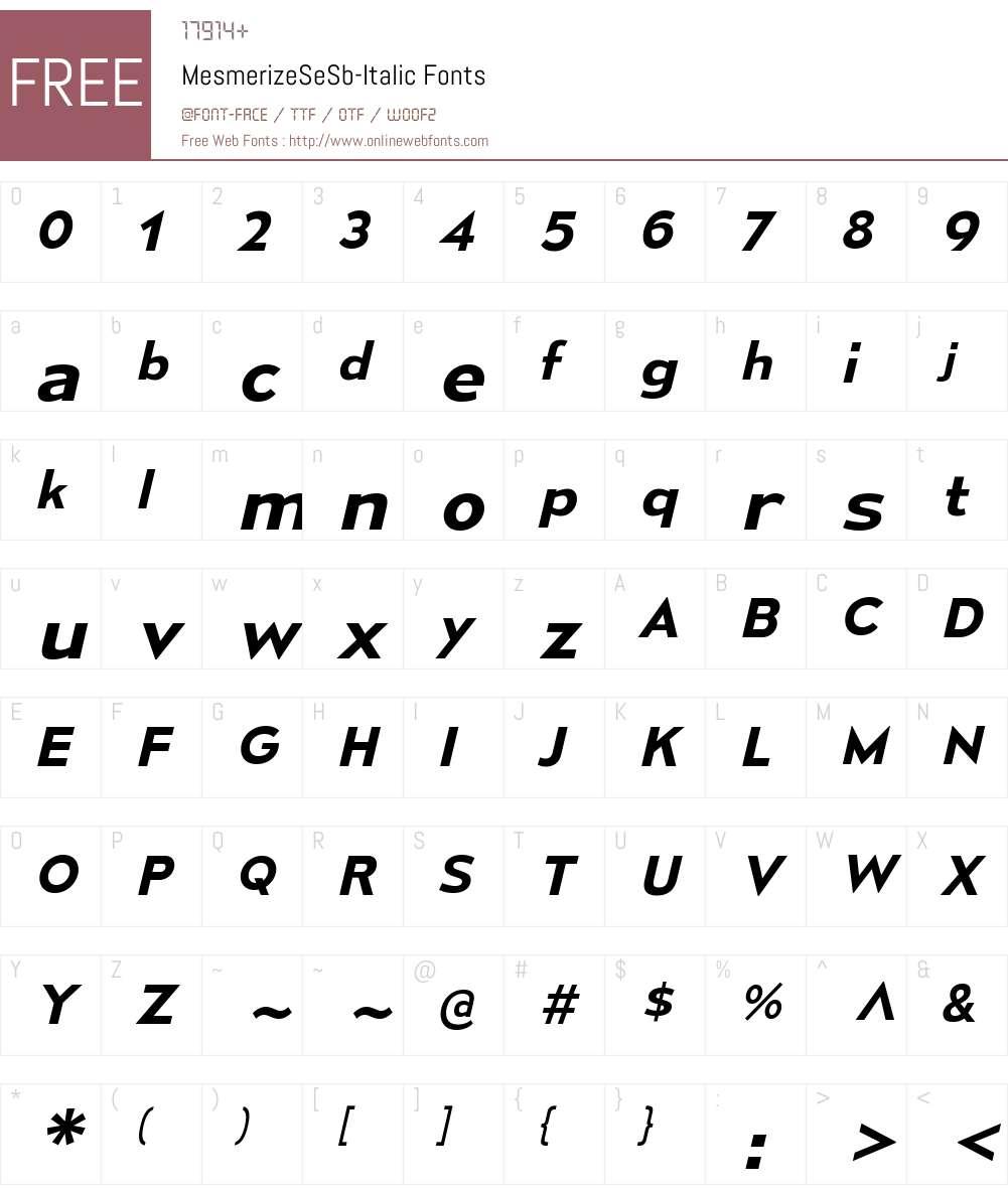 Mesmerize Font Screenshots