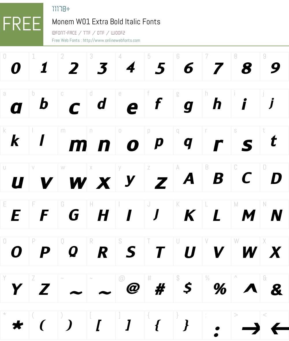MonemW01-ExtraBoldItalic Font Screenshots