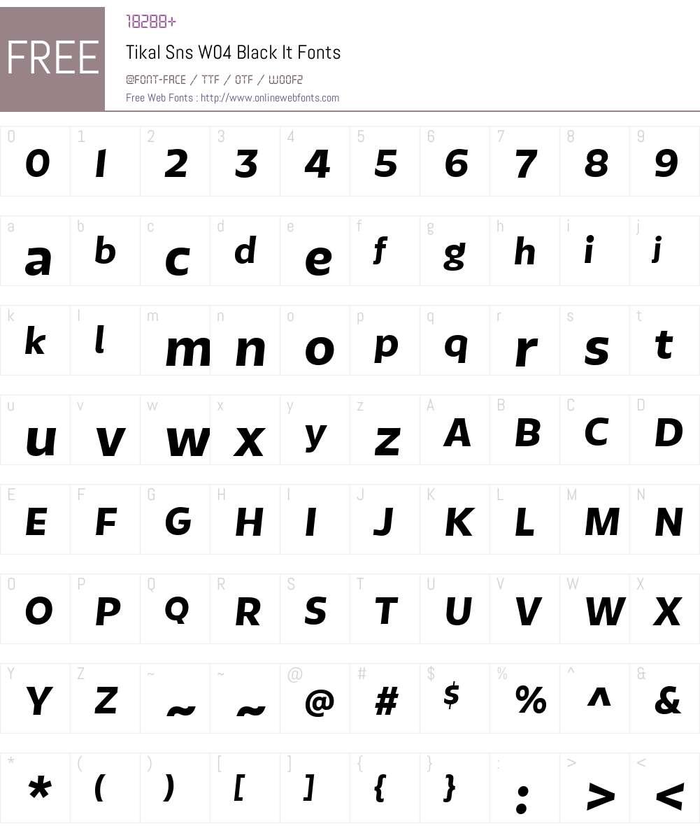 TikalSnsW04-BlackIt Font Screenshots