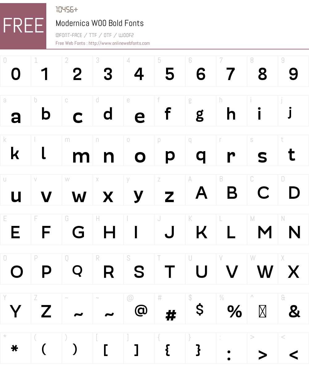 ModernicaW00-Bold Font Screenshots