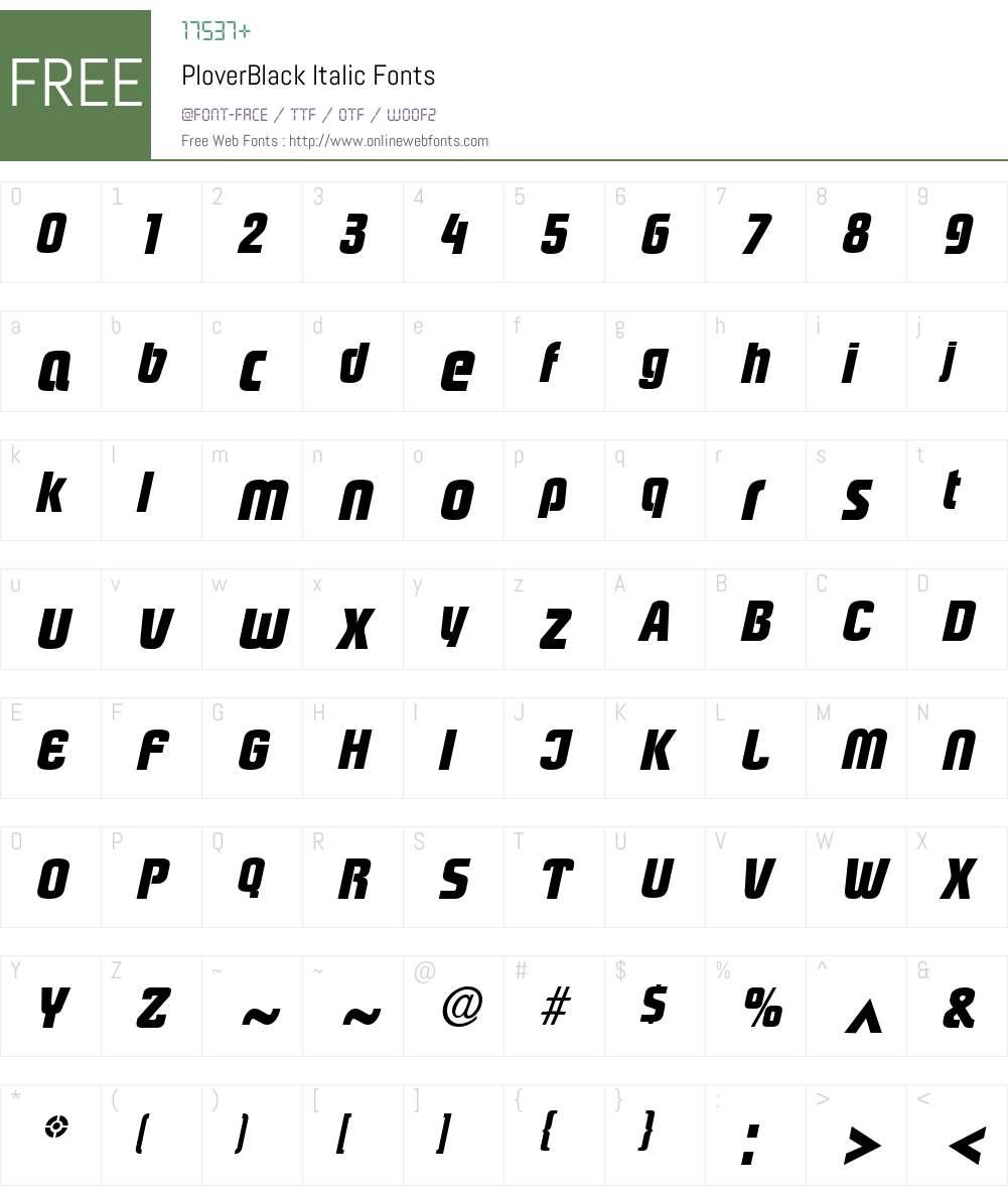 PloverBlack Font Screenshots