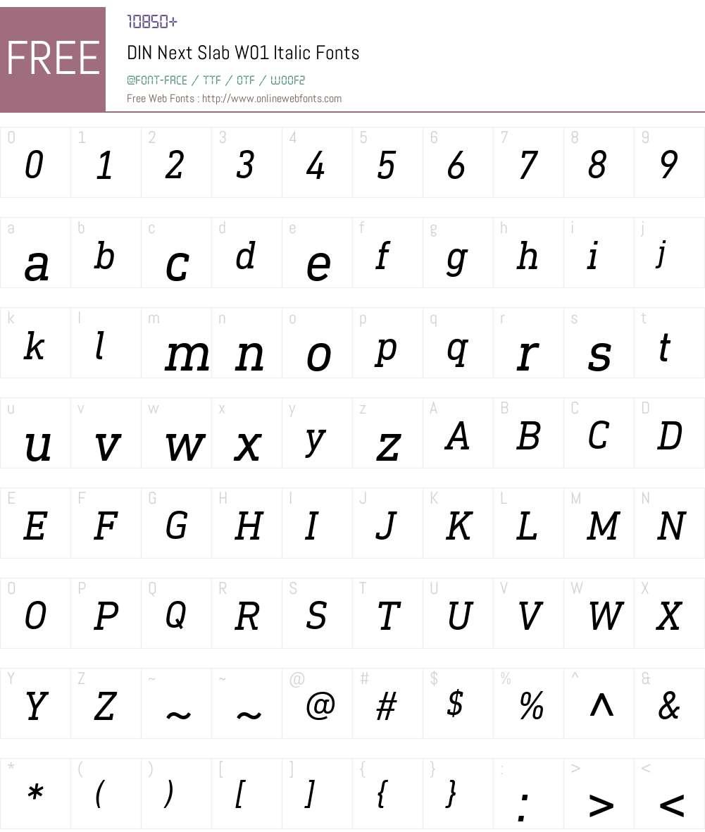 DINNextSlabW01-Italic Font Screenshots