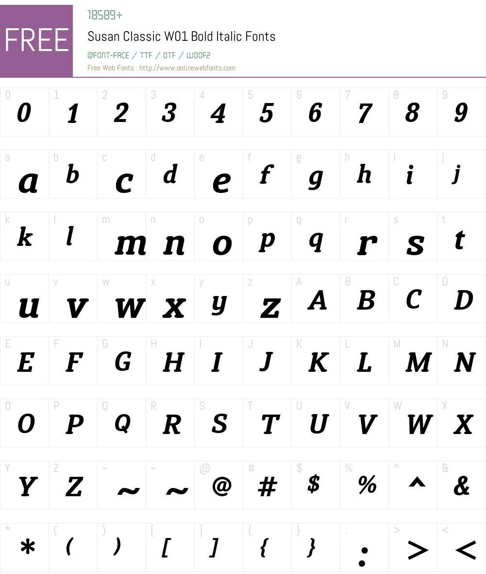 SusanClassicW01-BoldItalic Font Screenshots
