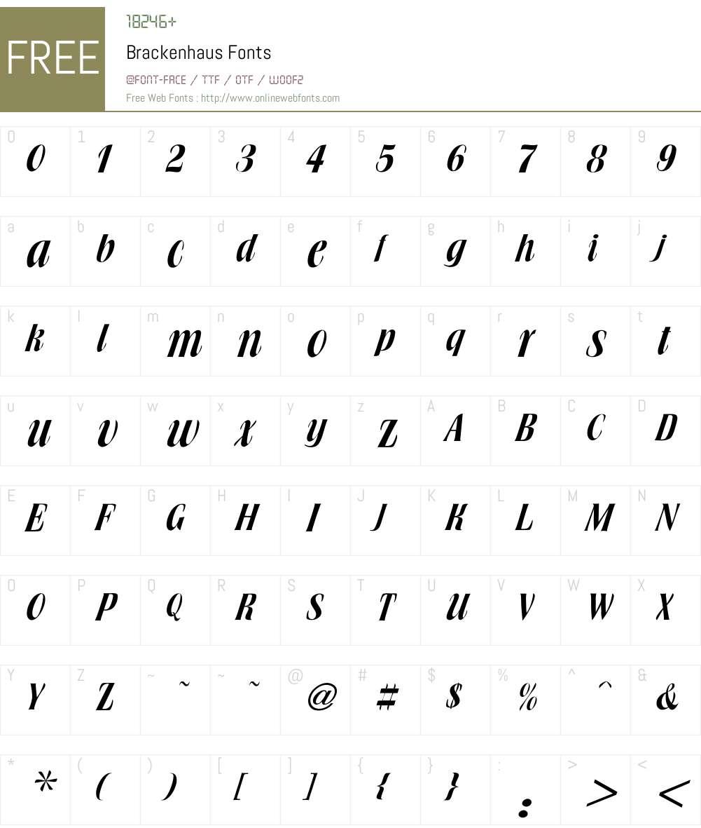 Brackenhaus Font Screenshots
