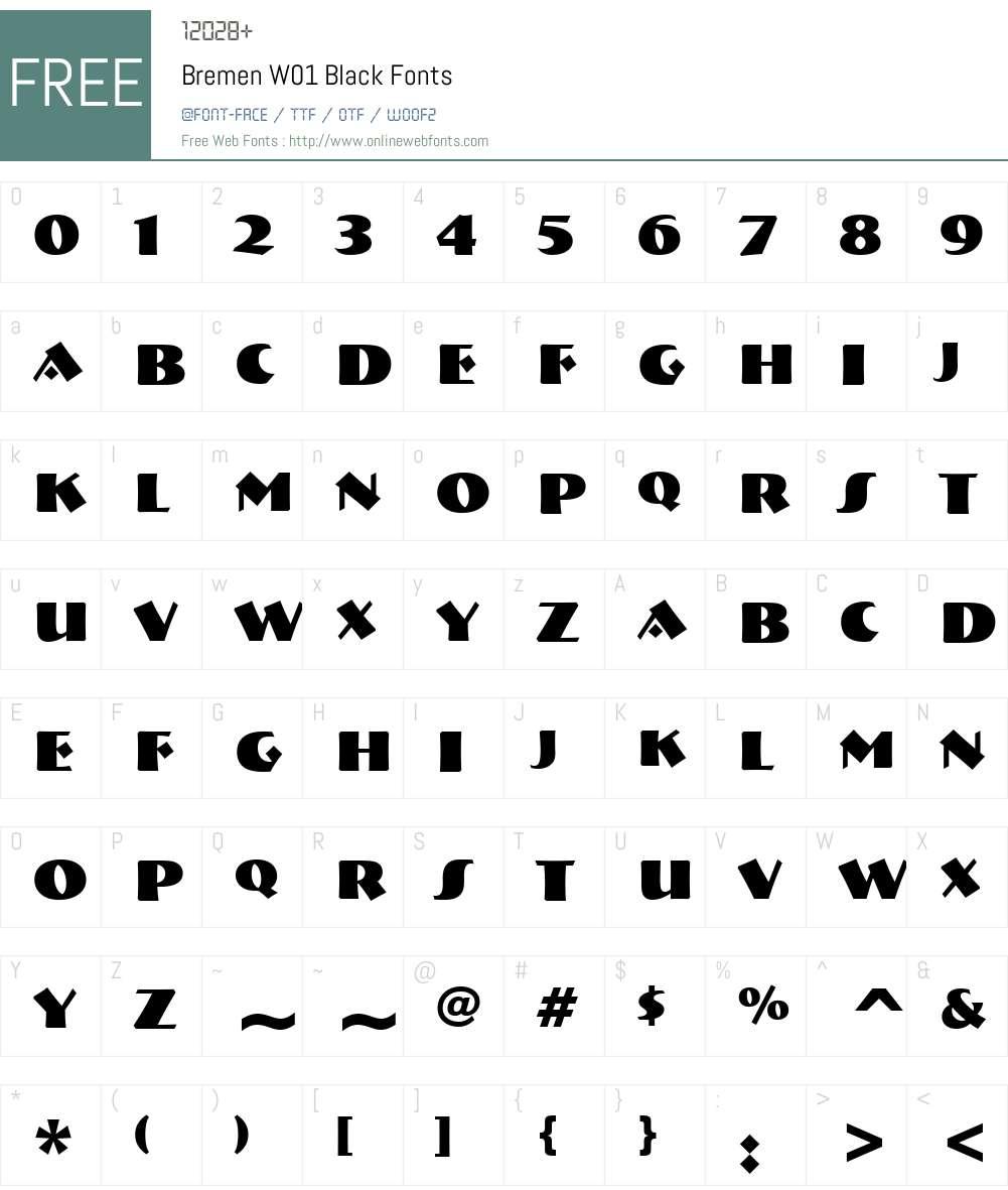 BremenW01-Black Font Screenshots