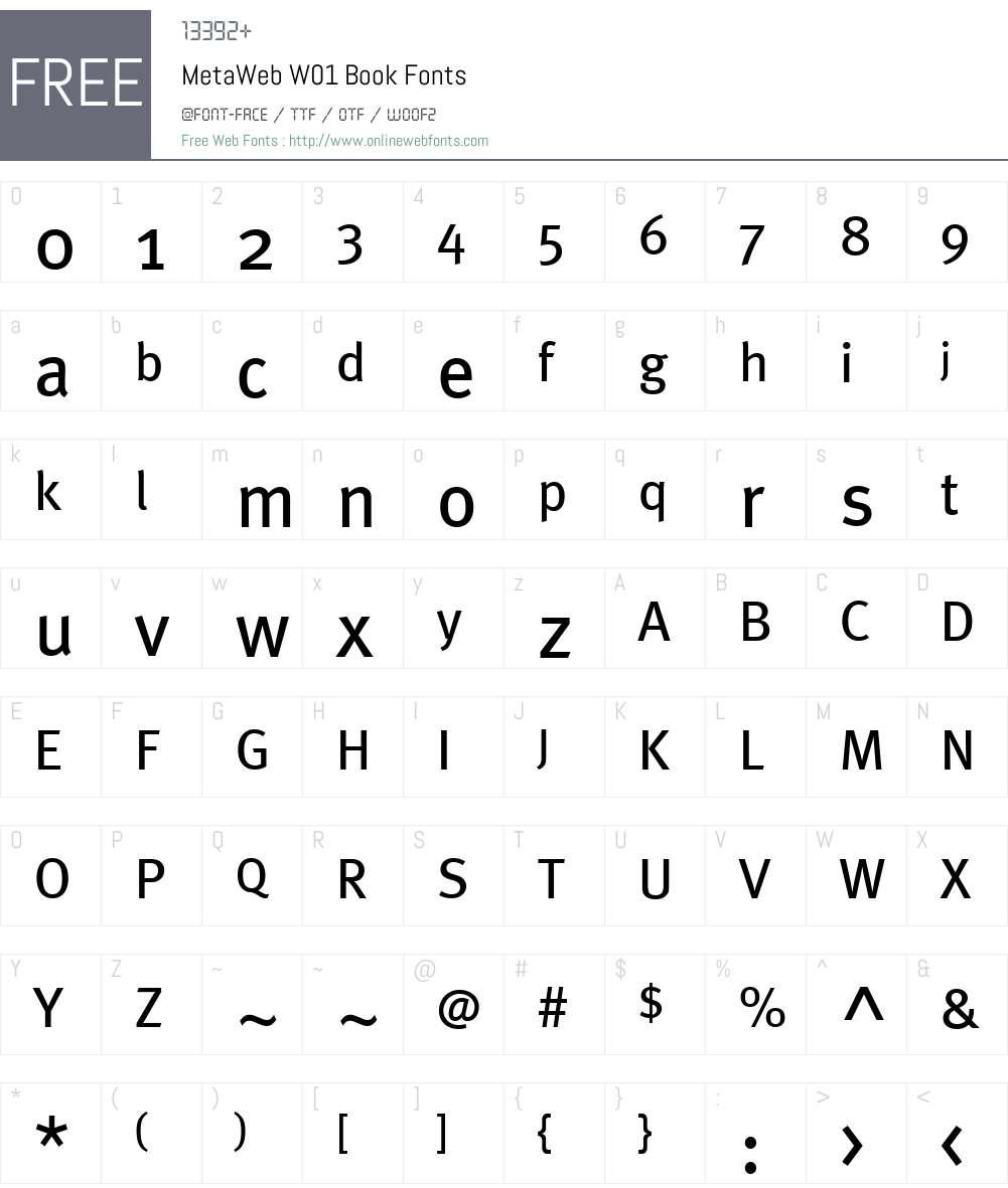 MetaWebW01-Book Font Screenshots