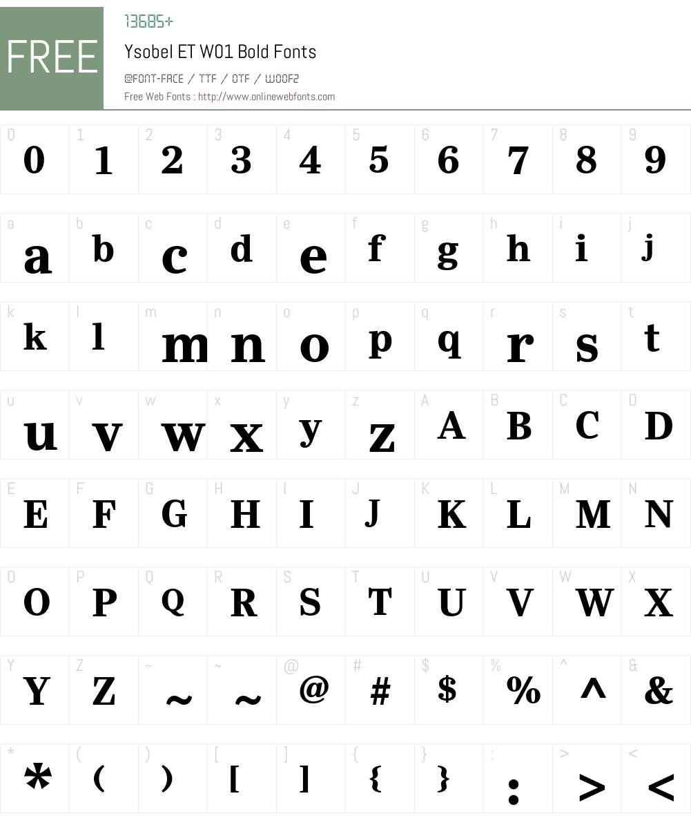 YsobelETW01-Bold Font Screenshots