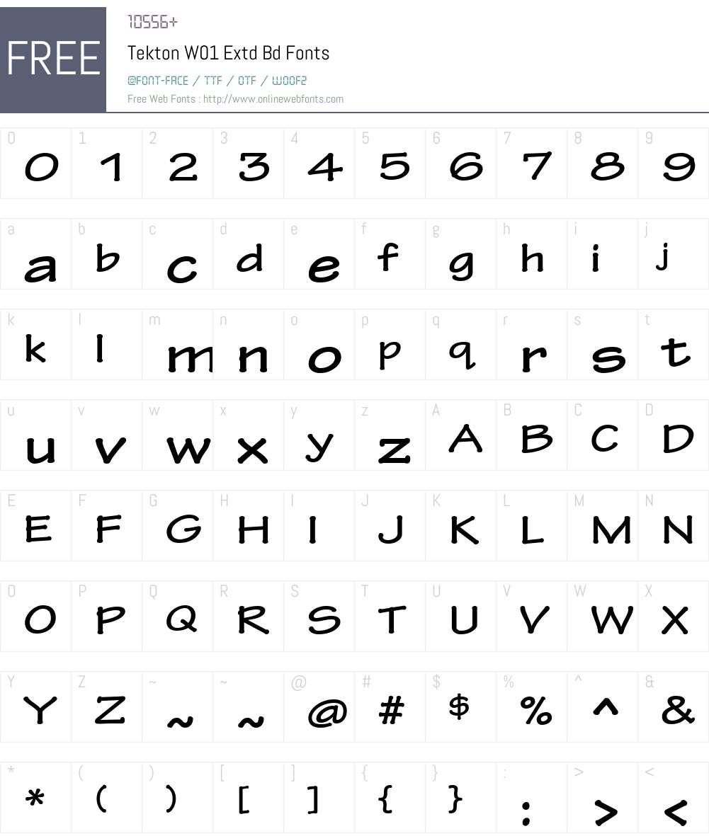 TektonW01-ExtdBd Font Screenshots
