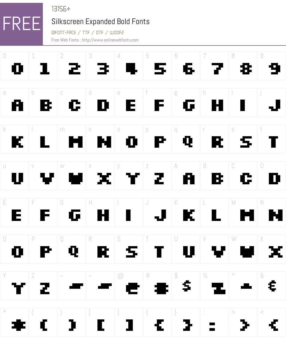 Silkscreen Expanded Font Screenshots