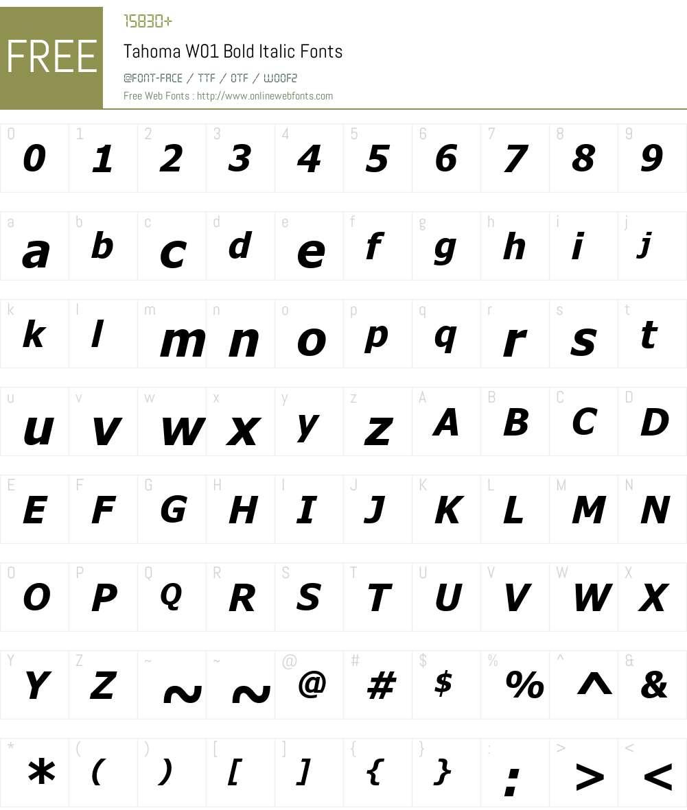 TahomaW01-BoldItalic Font Screenshots