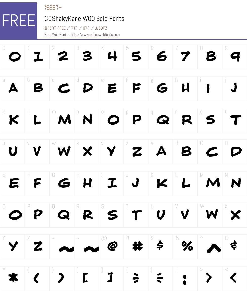 CCShakyKaneW00-Bold Font Screenshots