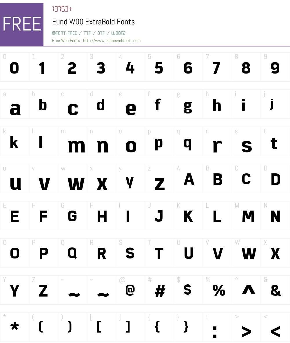 EundW00-ExtraBold Font Screenshots