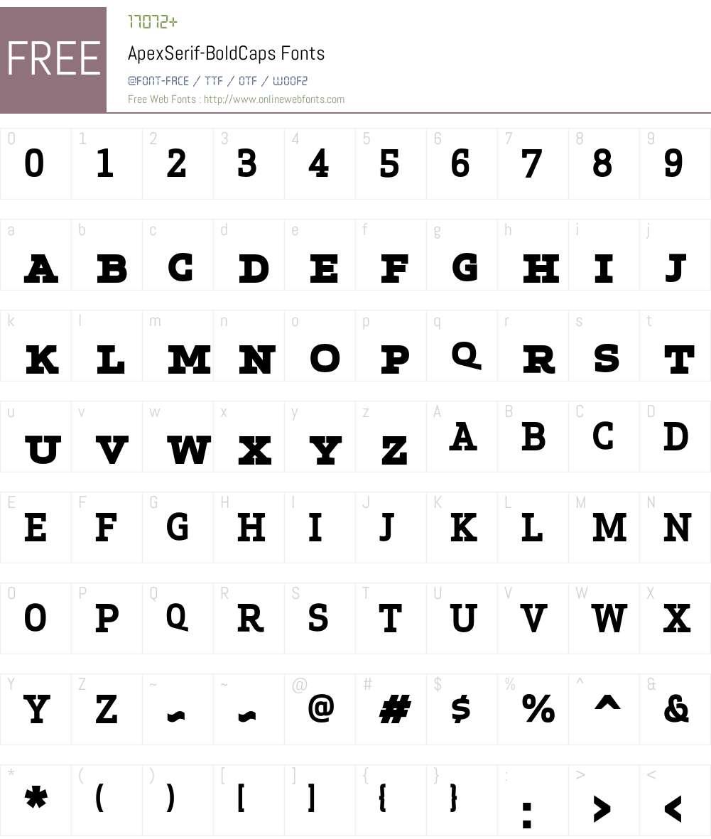 Apex Serif Bold Caps Font Screenshots