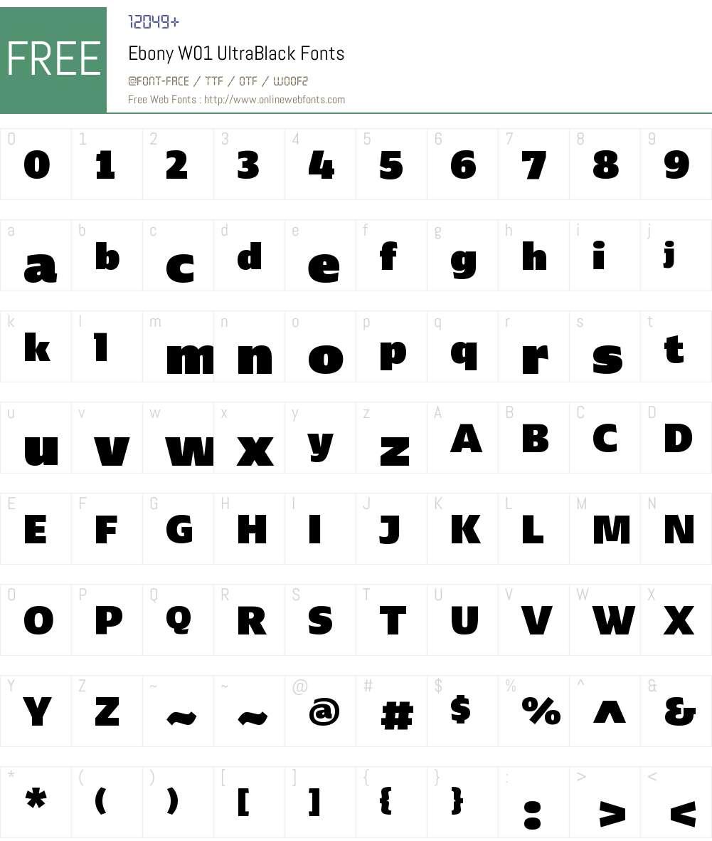 EbonyW01-UltraBlack Font Screenshots