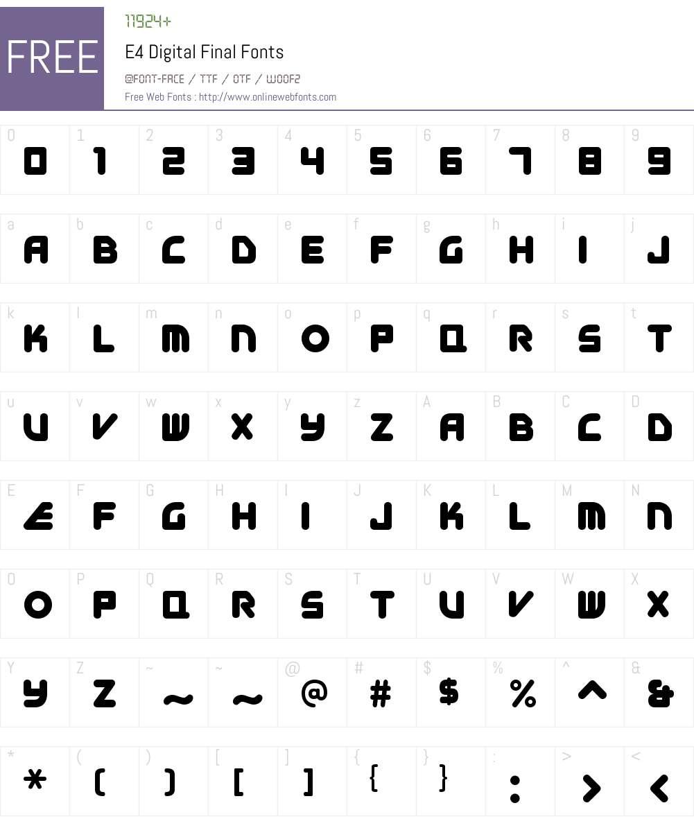 E4 Digital Final Font Screenshots