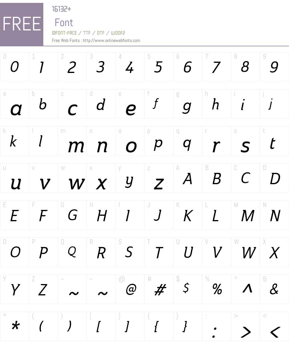 AinslieW01-CondMediumItalic Font Screenshots