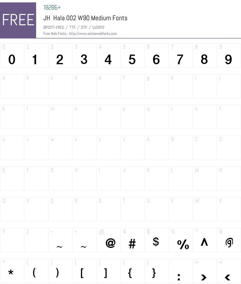 JHHala002W90-Medium Font Screenshots