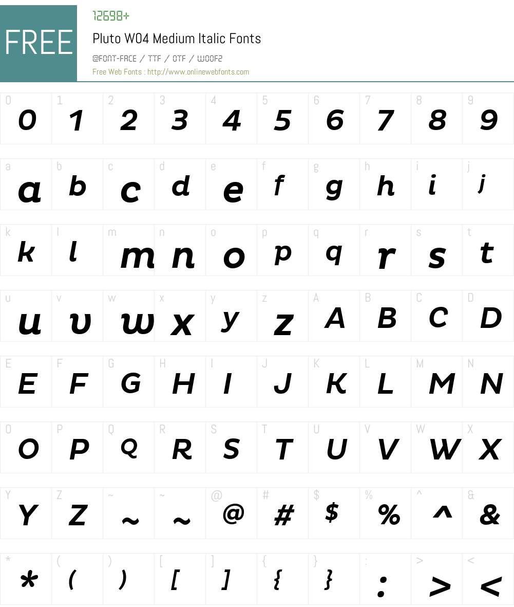 Pluto Font Screenshots