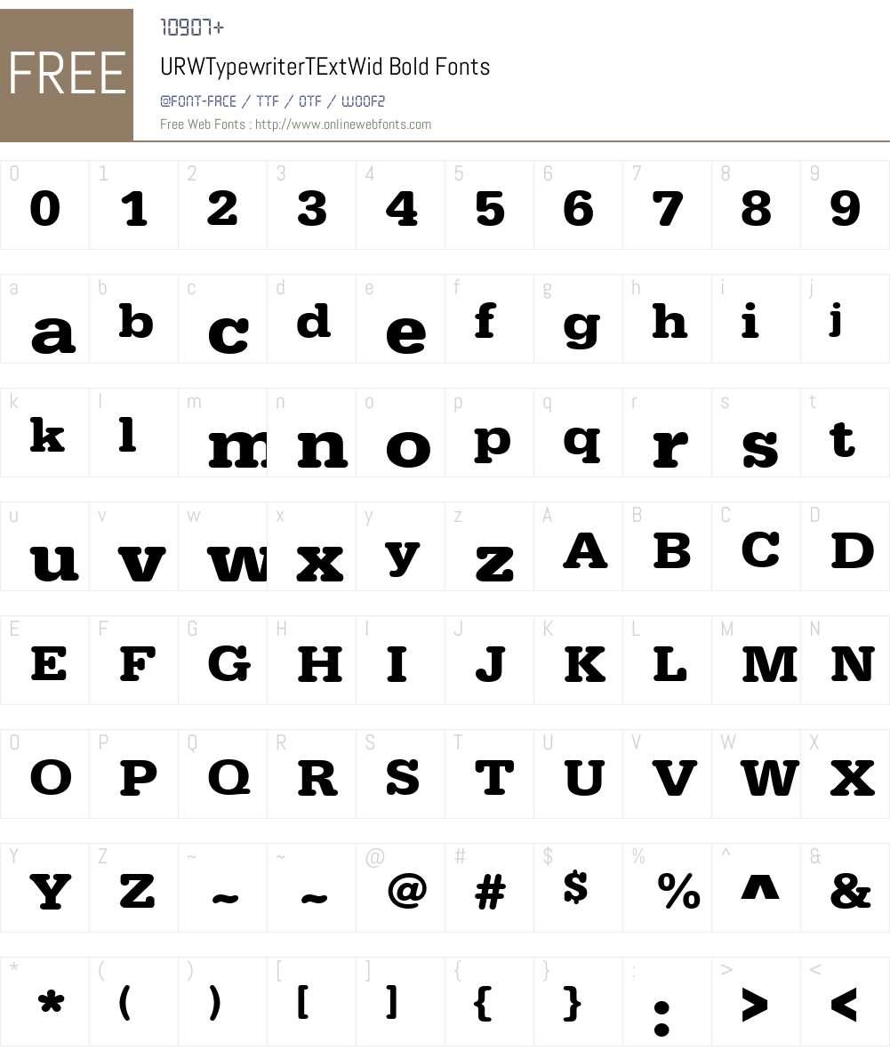 URWTypewriterTExtWid Font Screenshots