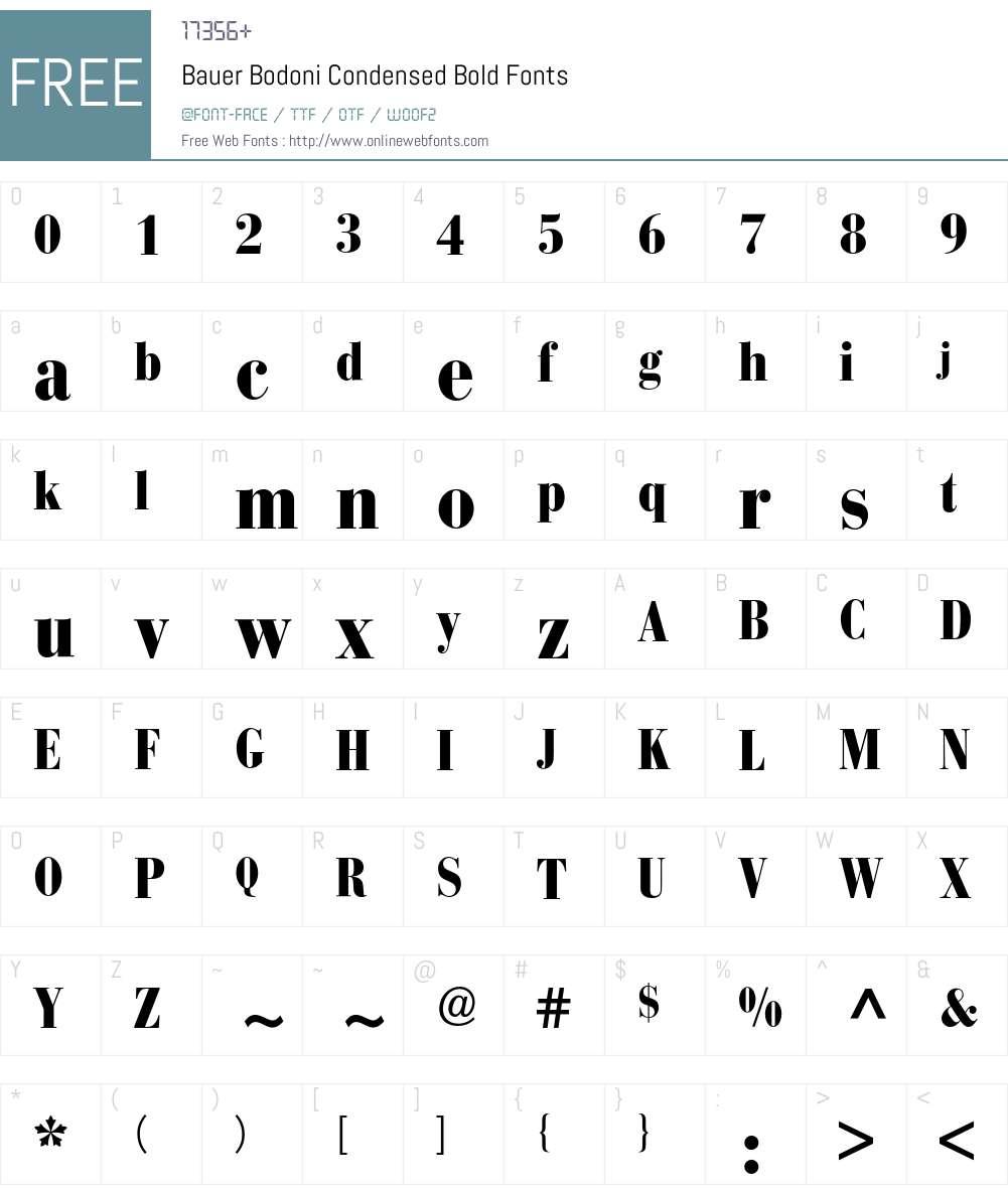 Bodoni Bauer BQ Font Screenshots