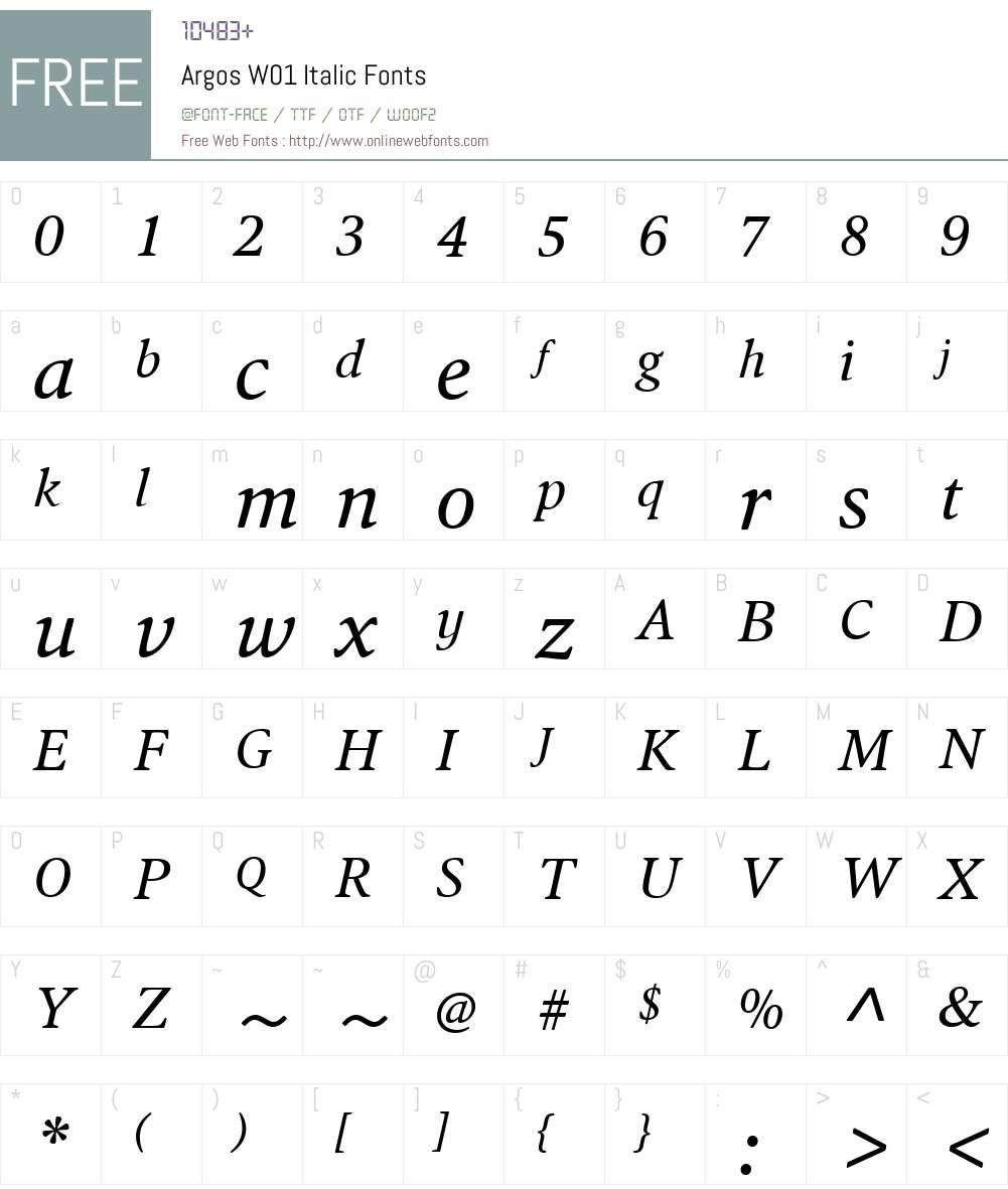 ArgosW01-Italic Font Screenshots
