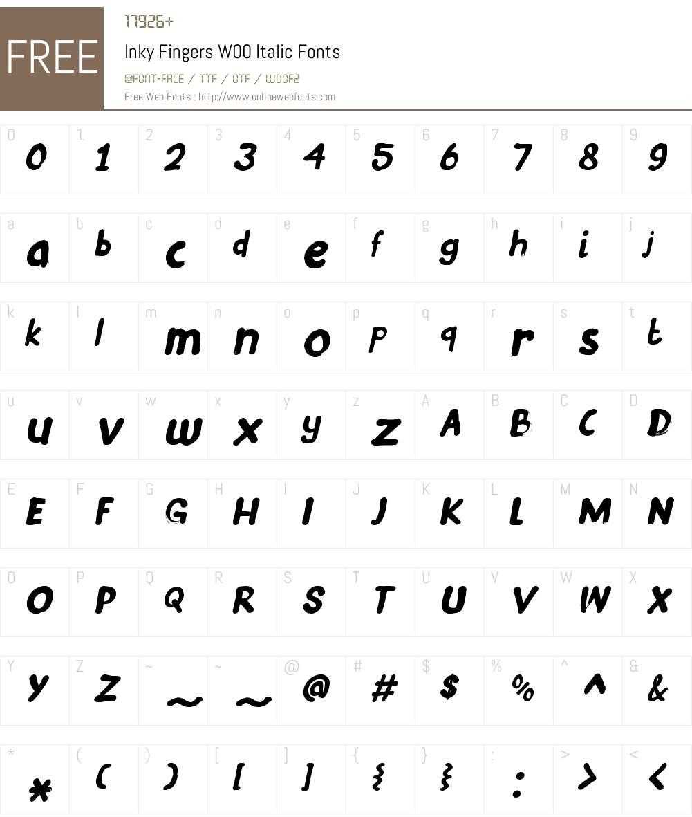 InkyFingersW00-Italic Font Screenshots