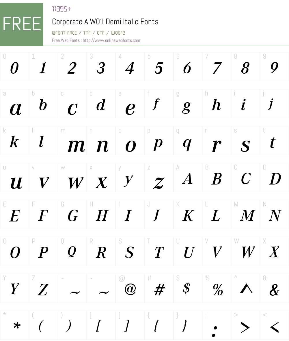 CorporateAW01-DemiItalic Font Screenshots