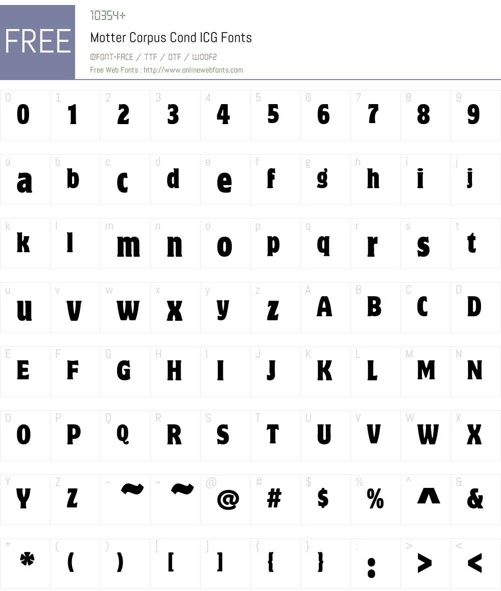 Motter Corpus Cond ICG Font Screenshots