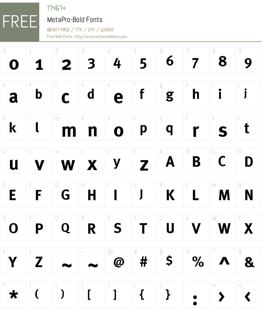 MetaPro-Bold Font Screenshots