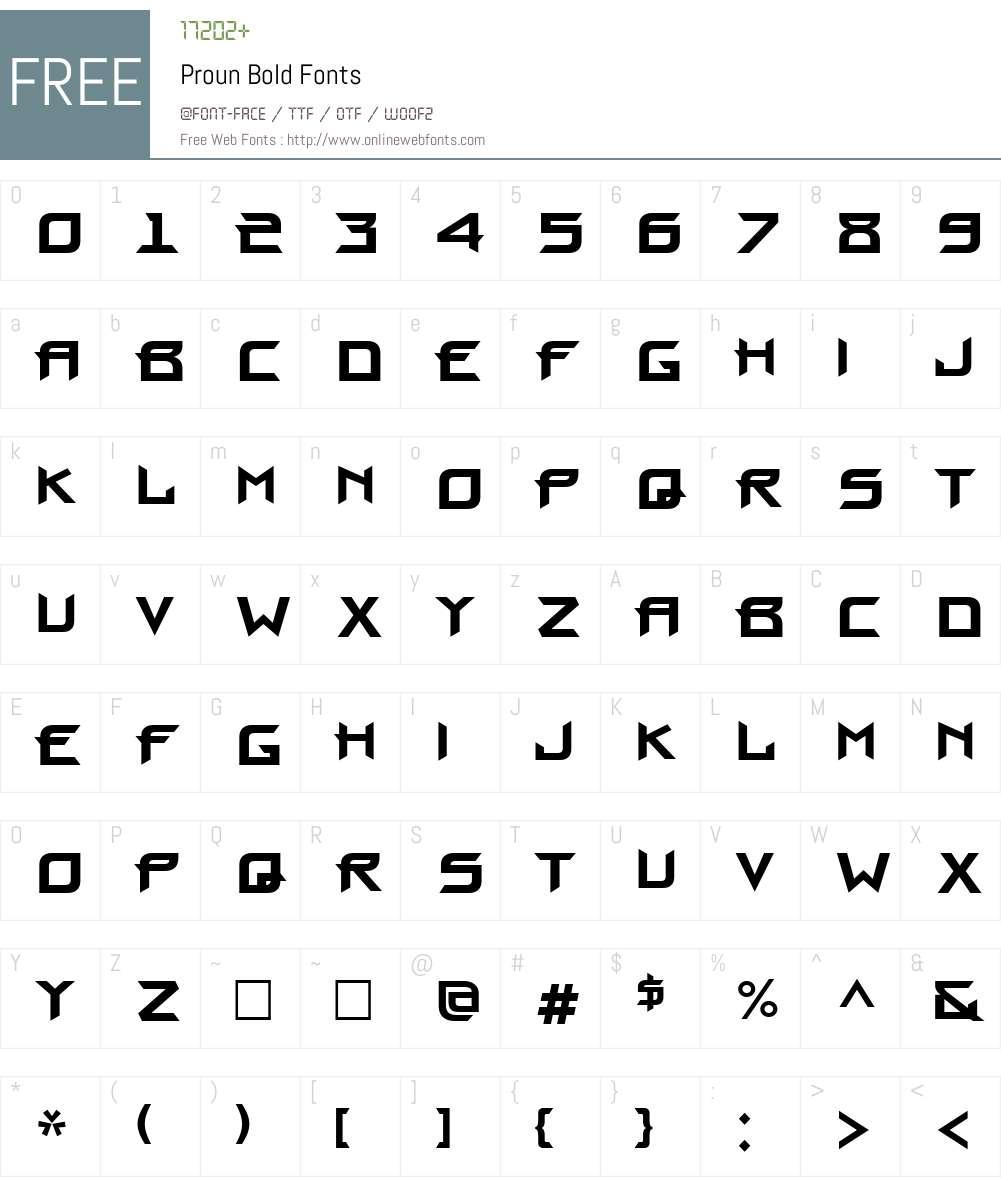 Proun Font Screenshots