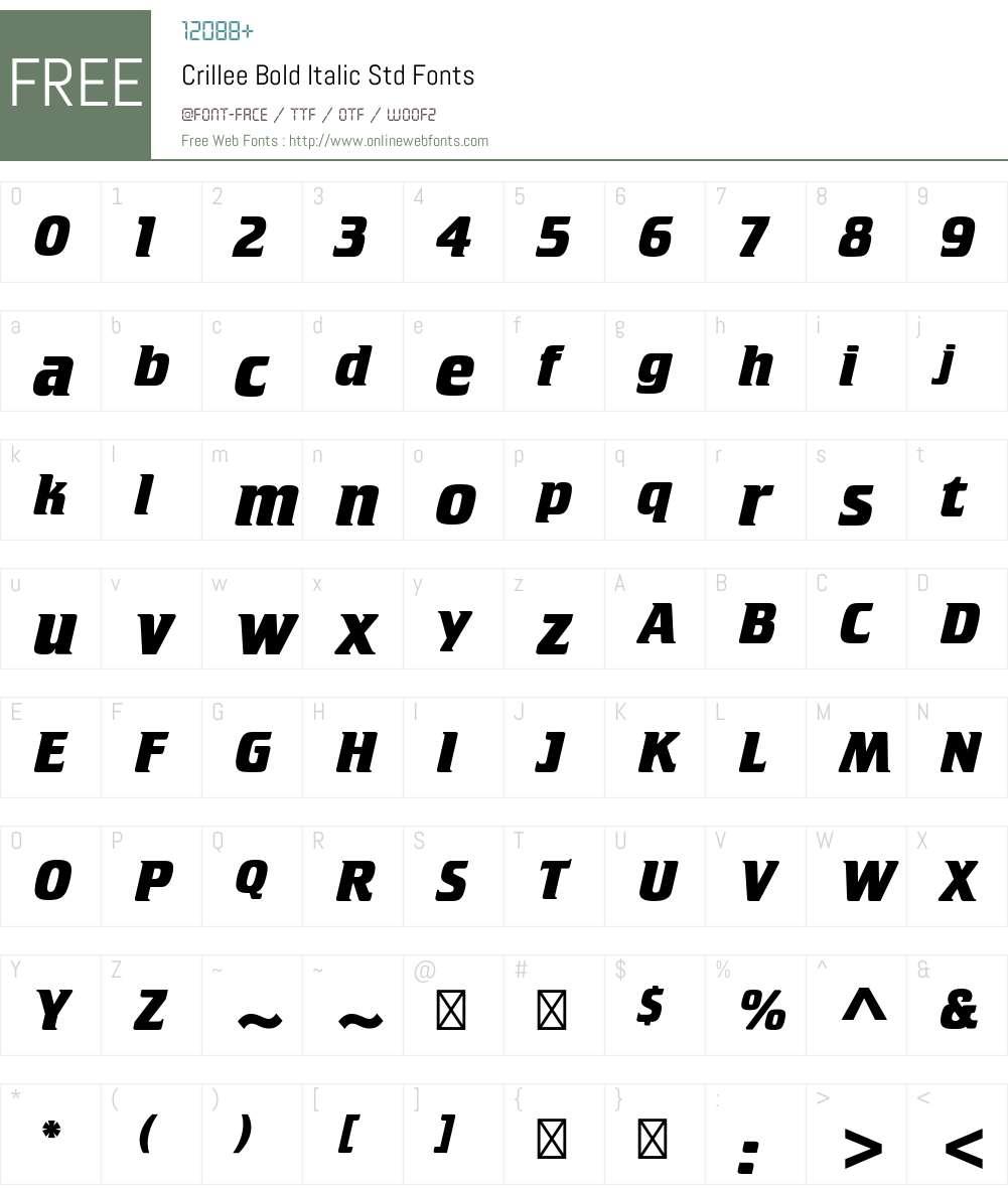 Crillee Bold Italic Std Font Screenshots