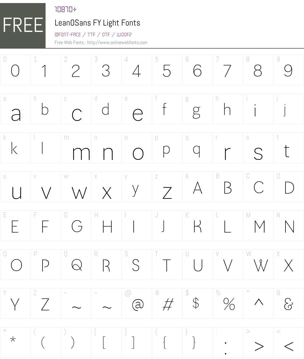 LeanOSans FY Light Font Screenshots