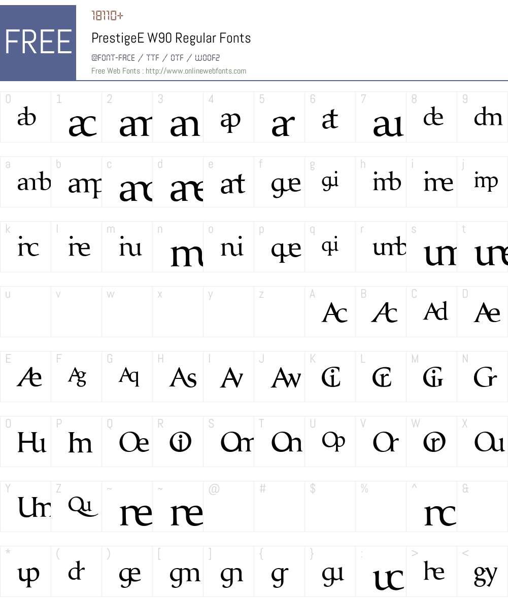 PrestigeEW90-Regular Font Screenshots
