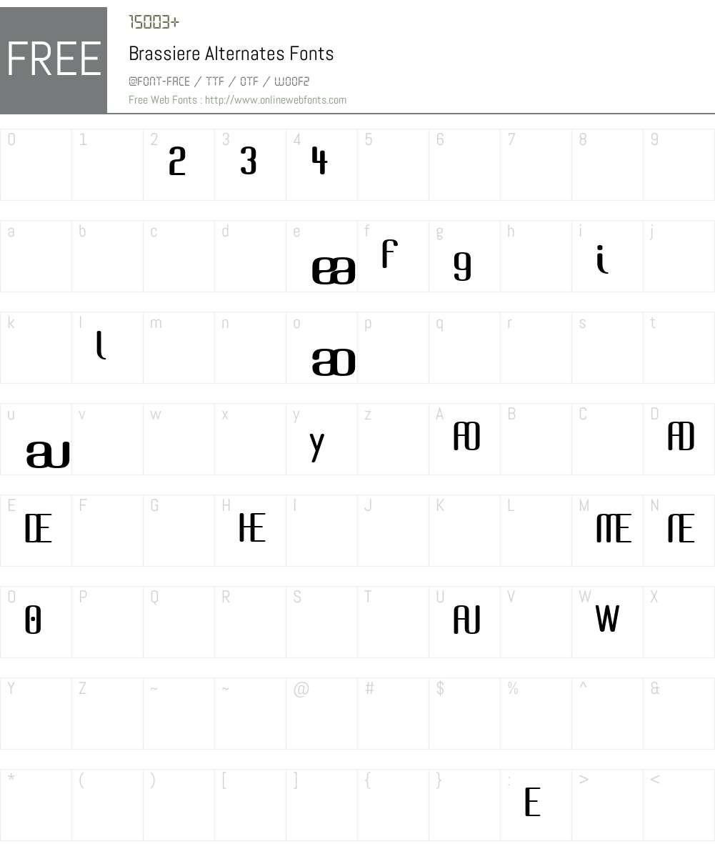 Brassiere Alternates Font Screenshots