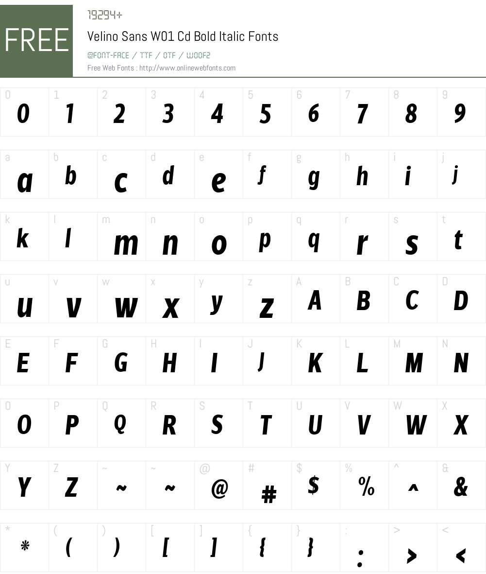 VelinoSansW01-CdBoldItalic Font Screenshots